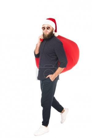 man in santa claus hat