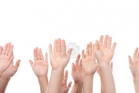 Photo pour Plan recadré de personnes levant les mains isolées sur blanc - image libre de droit