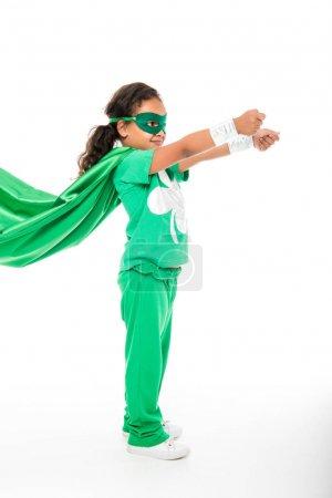superhero girl with waving cape