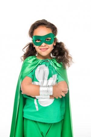 smiling beautiful superhero girl