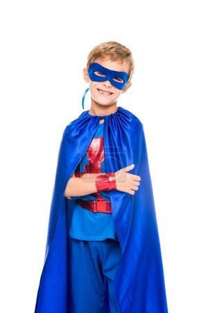 superhero boy with blue cape