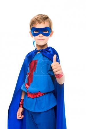 Superhero boy showing thumb up