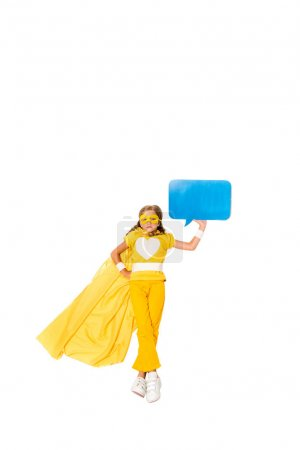 superhero girl with blank speech bubble