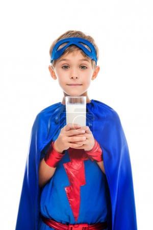 superhero boy with glass of milk