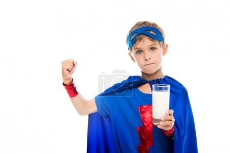 superhero boy with glass of milk
