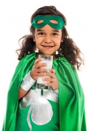 superhero girl with glass of milk