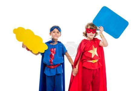 superheroes with empty speech bubbles