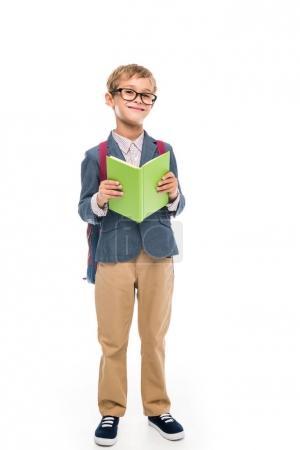 adorable schoolboy with book