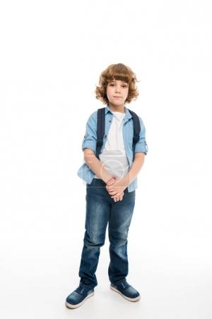 Photo for Adorable schoolboy with backpack, isolated on white - Royalty Free Image