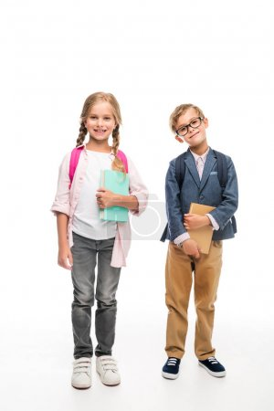 classmates with backpacks and books