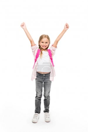 Excited schoolgirl with backpack