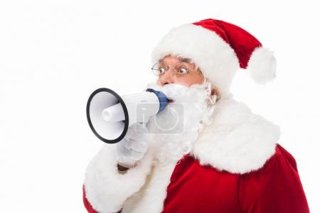 Photo for Excited santa claus using megaphone and looking away isolated on white - Royalty Free Image