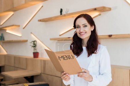 woman with menu list