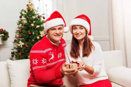 Mature couple with christmas gift