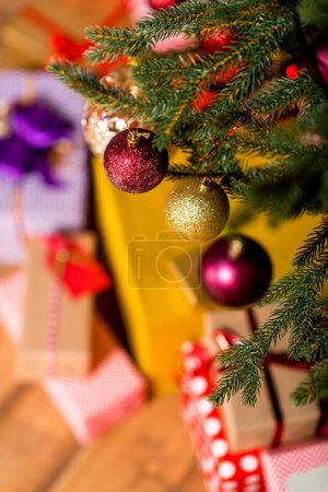 decorative balls hanging on christmas tree