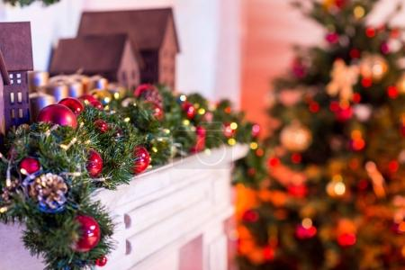 Photo for Close-up shot of christmas decorated fireplace - Royalty Free Image