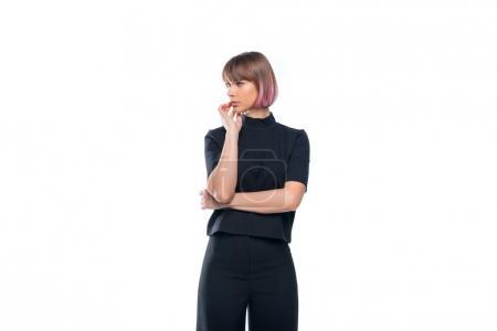 Foto de Hermosa chica pensativa en ropa negra, aislado sobre blanco - Imagen libre de derechos