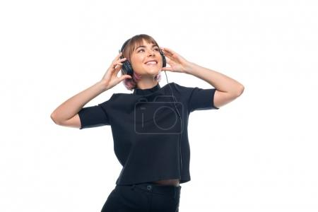 girl listening music with headphones