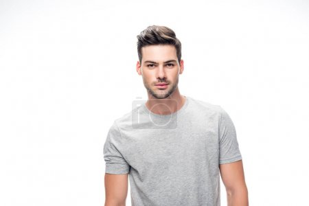 Photo for Handsome man in grey t-shirt isolated on white - Royalty Free Image