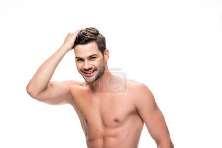 Photo pour Bel homme torse nu, toucher ses cheveux isolé sur blanc - image libre de droit