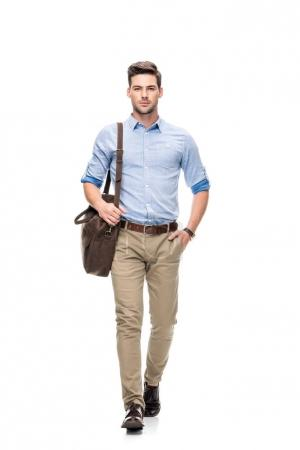 man with leather briefcase