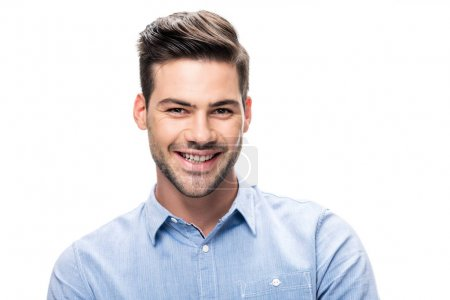 Photo for Smiling man looking at camera isolated on white - Royalty Free Image