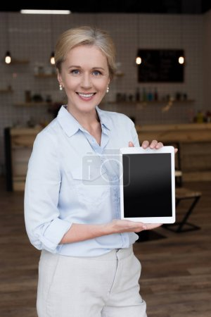 Shop owner with blackboard