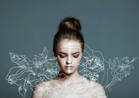 Beautiful girl with line on face