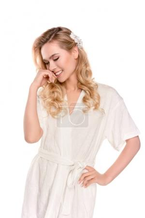blonde woman in robe
