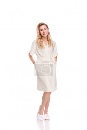 Blonde woman in robe