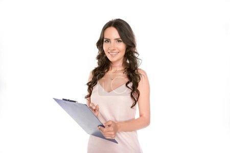 beautiful woman with clipboard