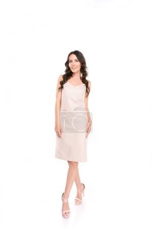 beautiful brunette woman in dress