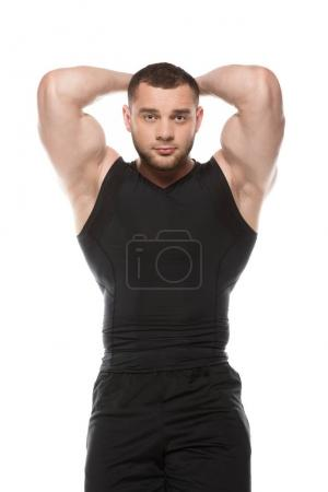 Photo for Handsome bearded muscular man looking at camera isolated on white - Royalty Free Image