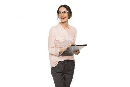 Young businesswoman with clipboard