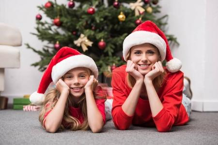 mother and daughter at christmastime