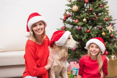 family with dog in Santa hats