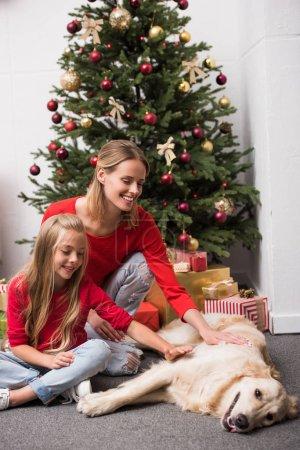 Photo pour Heureux mère et fille avec chien assis à l'arbre de Noël - image libre de droit