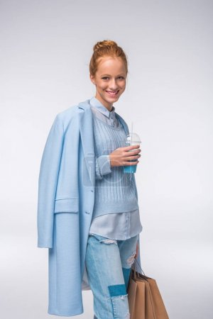 Girl in blue autumn outfit