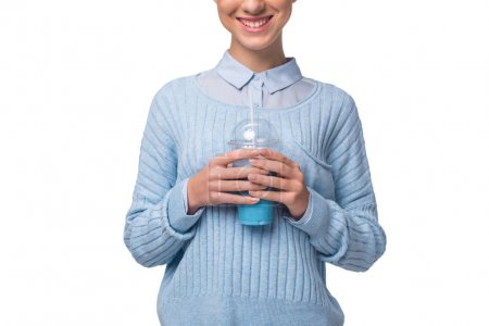 girl with blue drink