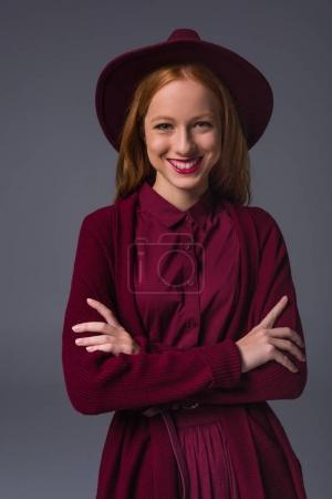 redhead stylish girl in hat