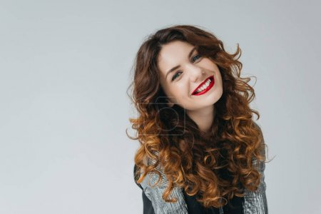 Photo for Attractive elegant model on fashion shoot in photo studio, isolated on grey - Royalty Free Image