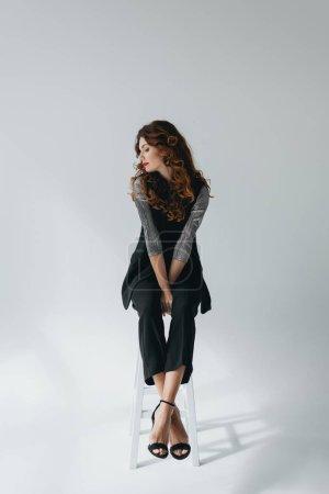 elegant model on fashion shoot