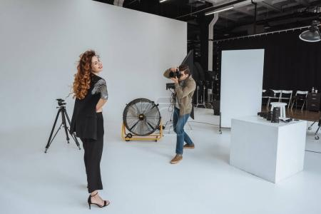 photographer and model in photo studio