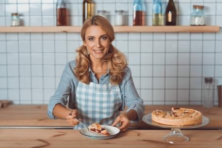 waitress with pie in cafe