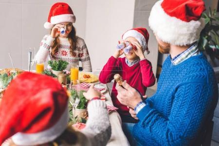 family having fun on christmas dinner