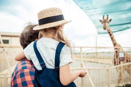family looking at giraffe in zoo