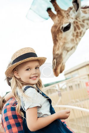 smiling kid in zoo
