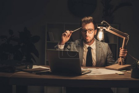 Overworking businessman