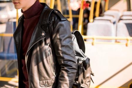 stylish man in bus