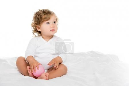 toddler girl with ball